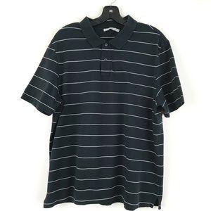 Vince Mens Dark Green Striped Polo Shir